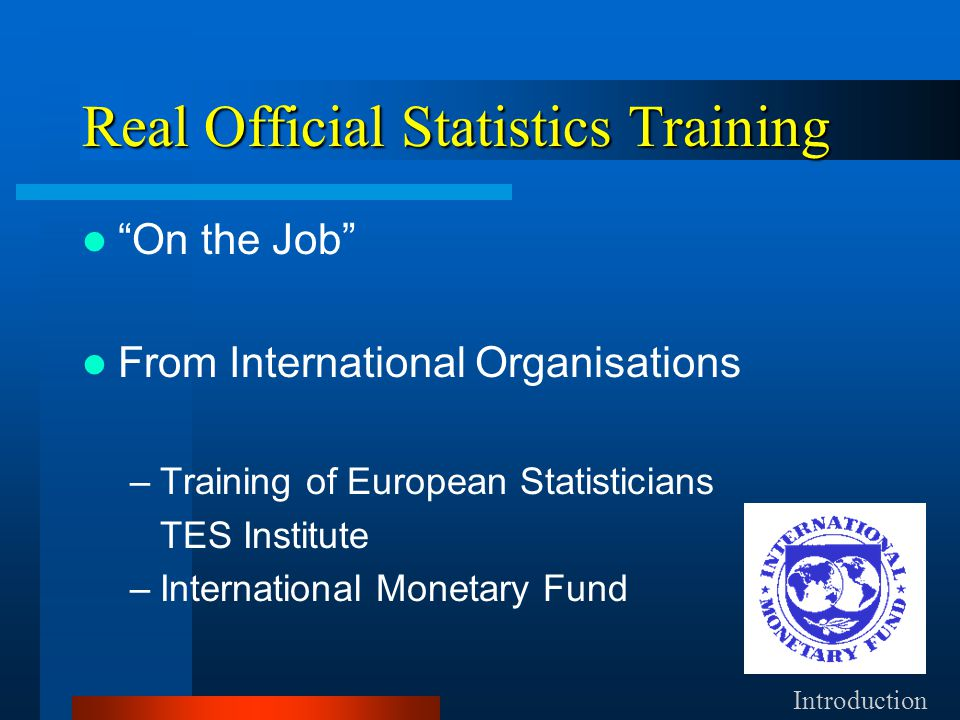 Real Official Statistics Training On the Job From International Organisations –Training of European Statisticians TES Institute –International Monetary Fund Introduction