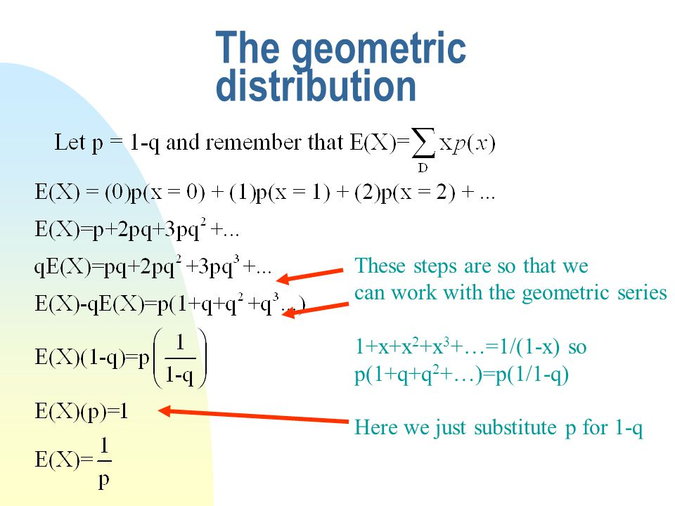 The geometric distribution These steps are so that we can work with the geometric series 1+x+x 2 +x 3 +…=1/(1-x) so p(1+q+q 2 +…)=p(1/1-q) Here we just substitute p for 1-q