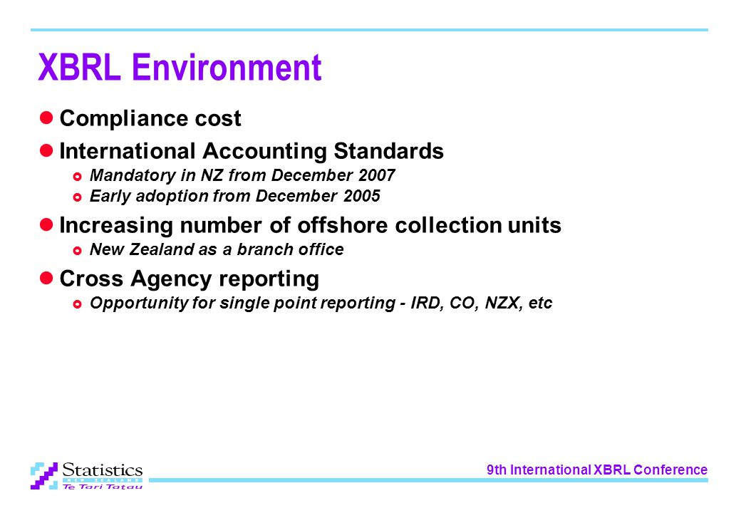 9th International XBRL Conference XBRL Environment Compliance cost International Accounting Standards  Mandatory in NZ from December 2007  Early adoption from December 2005 Increasing number of offshore collection units  New Zealand as a branch office Cross Agency reporting  Opportunity for single point reporting - IRD, CO, NZX, etc