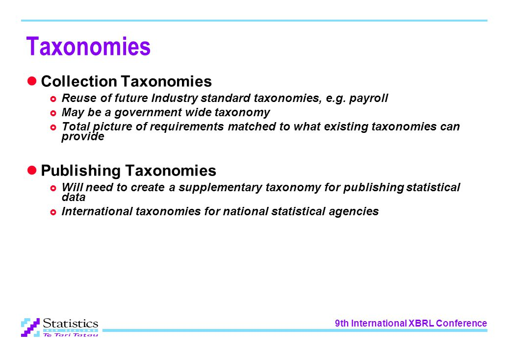 9th International XBRL Conference Taxonomies Collection Taxonomies  Reuse of future Industry standard taxonomies, e.g.