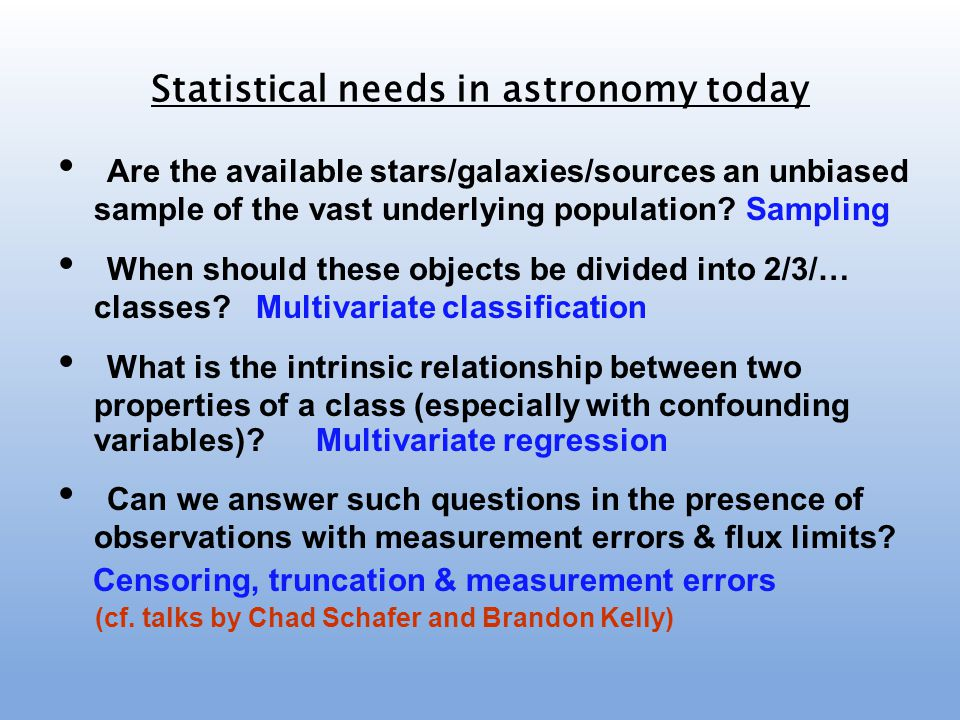 Are the available stars/galaxies/sources an unbiased sample of the vast underlying population? Sampling When should these objects be divided into 2/3/