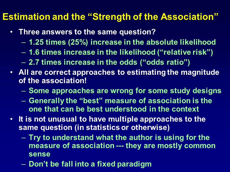 "Estimation and the ""Strength of the Association"" Three answers to the same question? – –1.25 times (25%) increase in the absolute likelihood – –1.6 ti"