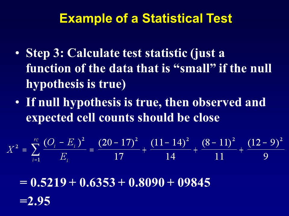 Example of a Statistical Test Step 3: Calculate test statistic (just a function of the data that is small if the null hypothesis is true) If null hypothesis is true, then observed and expected cell counts should be close = 0.5219 + 0.6353 + 0.8090 + 09845 =2.95