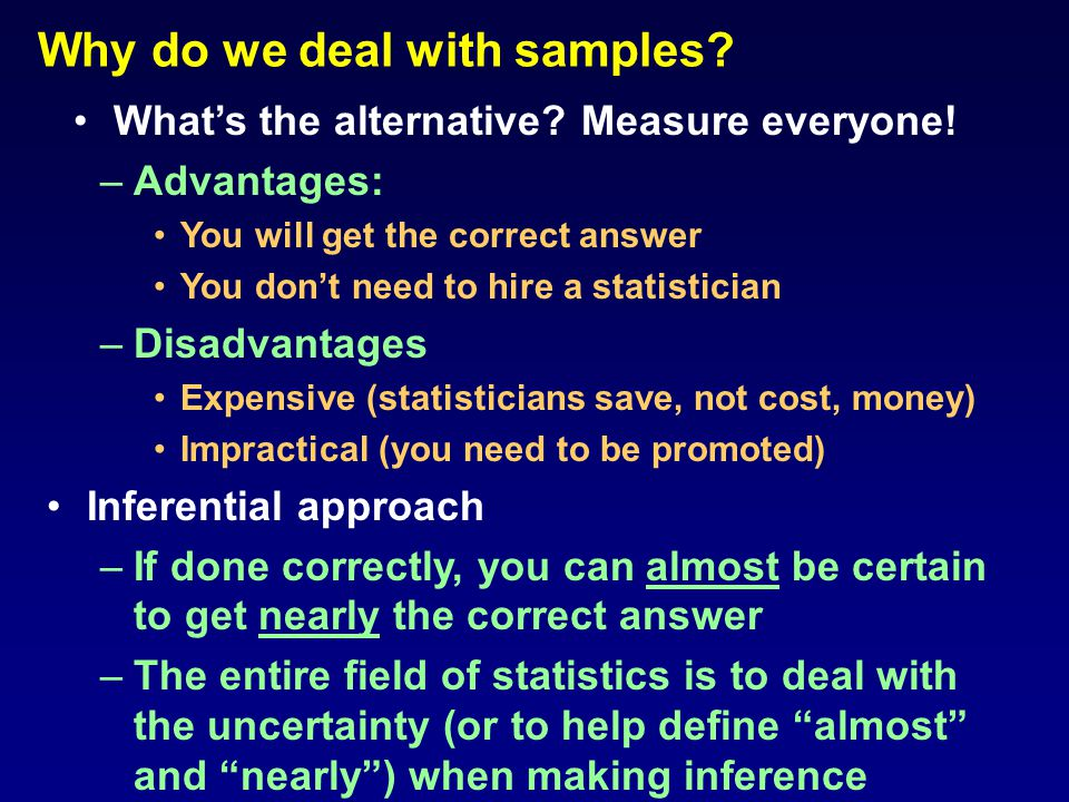 Why do we deal with samples. Measure everyone.