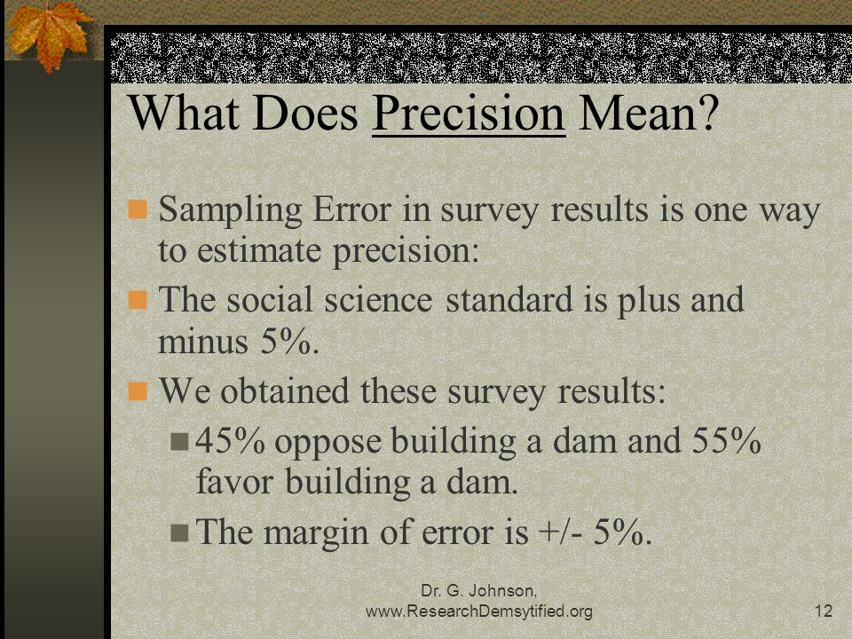 Dr.G. Johnson, www.ResearchDemsytified.org12 What Does Precision Mean.