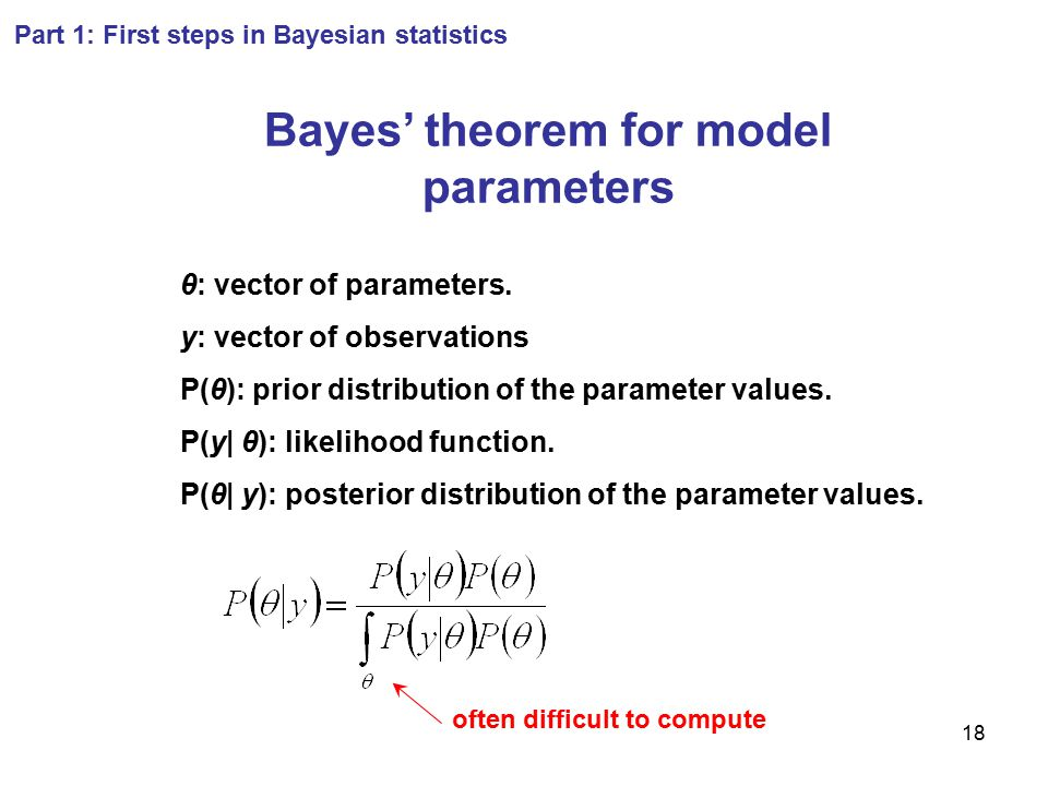 18 Part 1: First steps in Bayesian statistics Bayes' theorem for model parameters θ: vector of parameters. y: vector of observations P(θ): prior distr