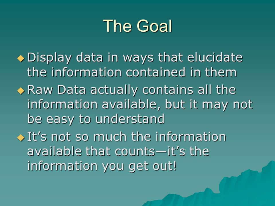The Goal  Display data in ways that elucidate the information contained in them  Raw Data actually contains all the information available, but it ma