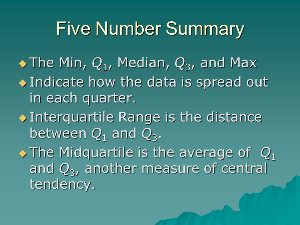 Five Number Summary  The Min, Q 1, Median, Q 3, and Max  Indicate how the data is spread out in each quarter.  Interquartile Range is the distance