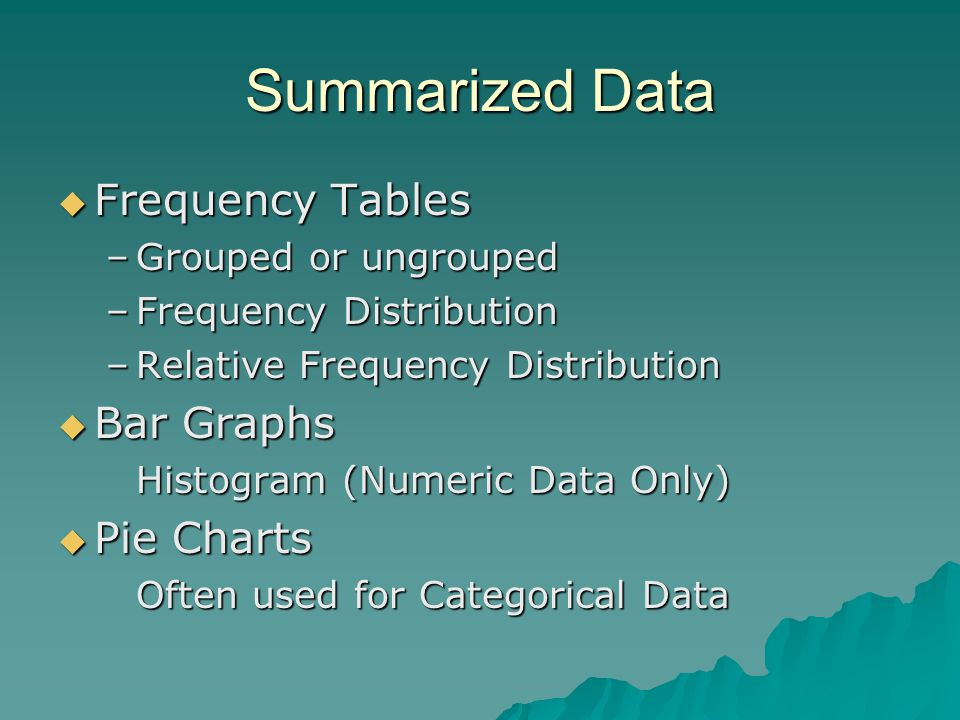 Summarized Data  Frequency Tables –Grouped or ungrouped –Frequency Distribution –Relative Frequency Distribution  Bar Graphs Histogram (Numeric Data