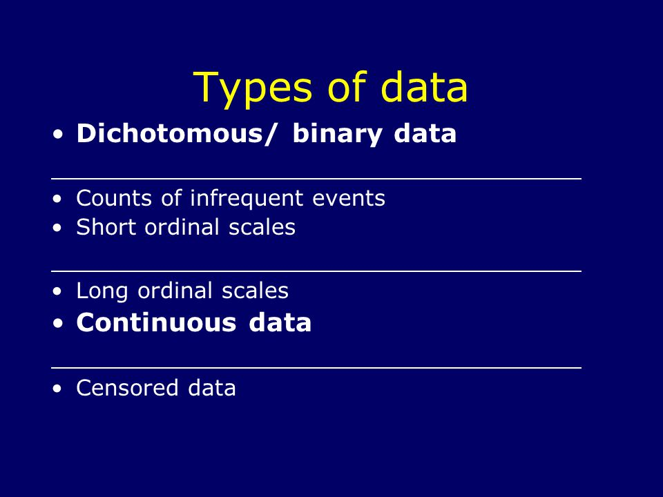 Types of data Dichotomous/ binary data Counts of infrequent events Short ordinal scales Long ordinal scales Continuous data Censored data