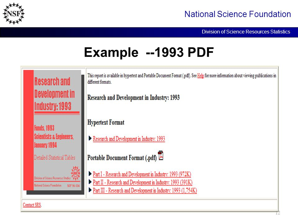 Example --1993 PDF National Science Foundation Division of Science Resources Statistics 12