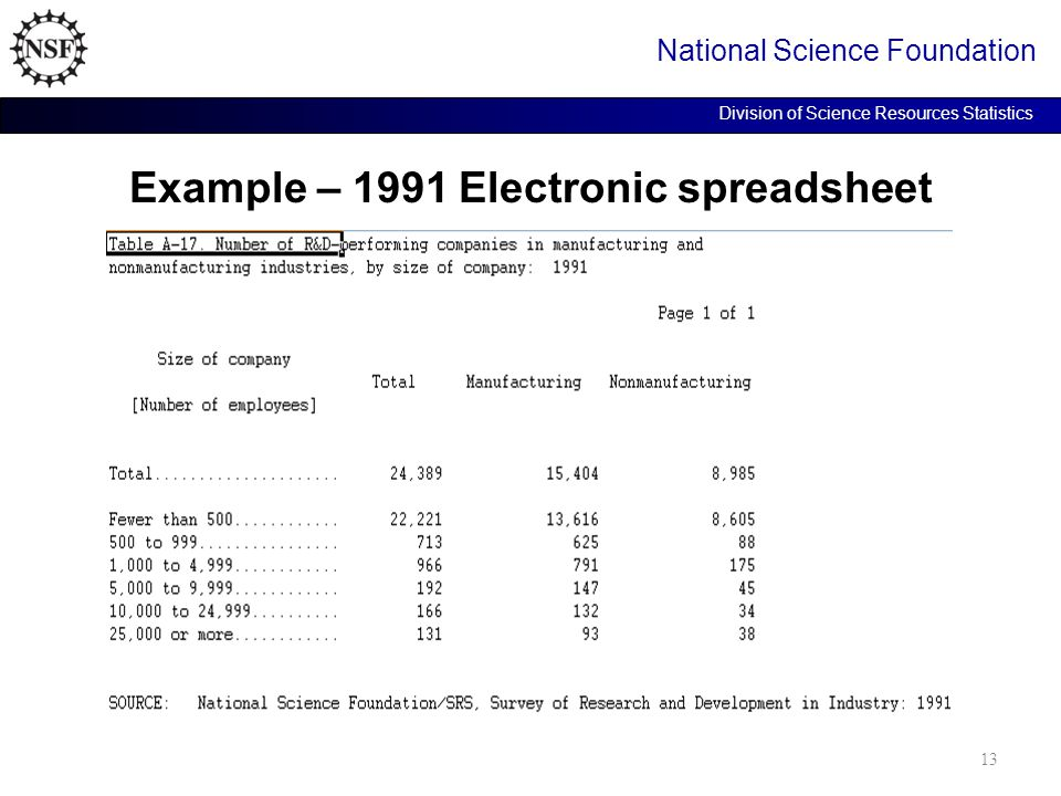 Example – 1991 Electronic spreadsheet National Science Foundation Division of Science Resources Statistics 13