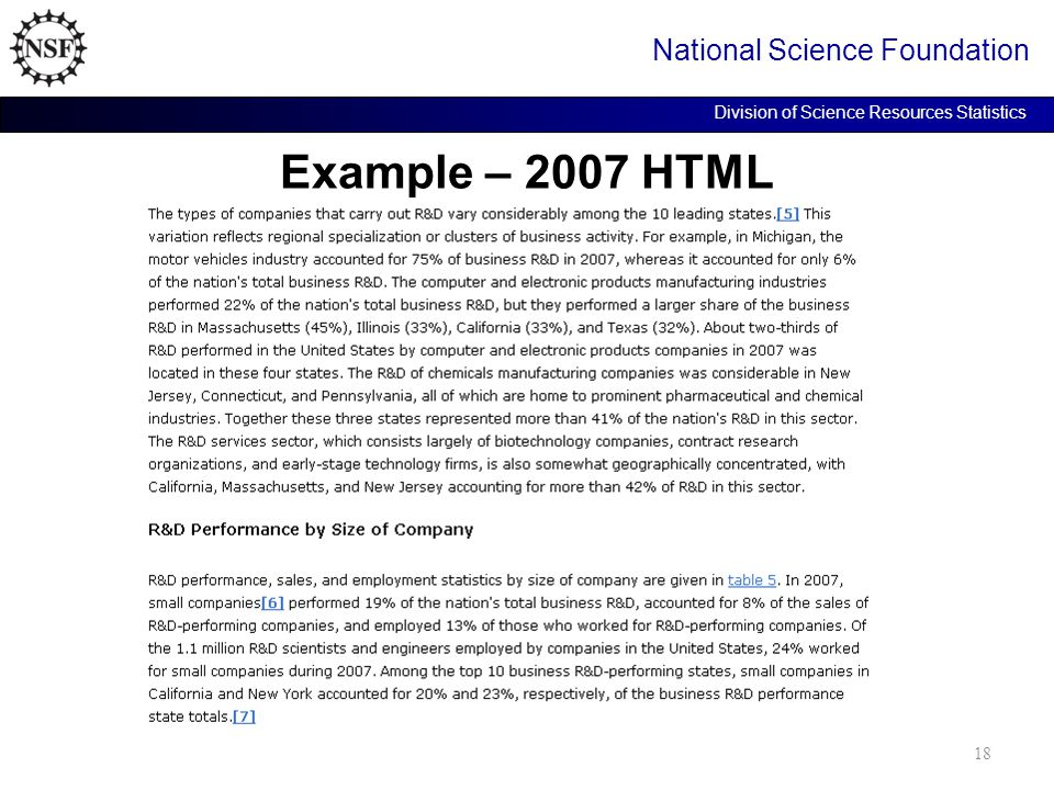 Example – 2007 HTML National Science Foundation Division of Science Resources Statistics 18