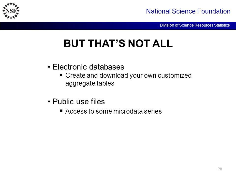 BUT THAT'S NOT ALL National Science Foundation Division of Science Resources Statistics Electronic databases  Create and download your own customized aggregate tables Public use files  Access to some microdata series 20