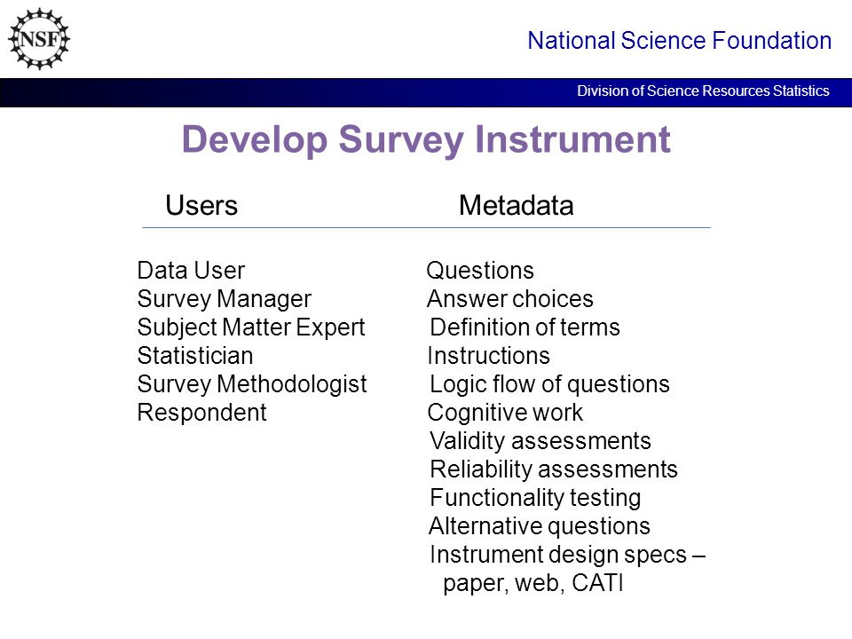 Develop Survey Instrument National Science Foundation Division of Science Resources Statistics Users Metadata Data User Questions Survey Manager Answer choices Subject Matter Expert Definition of terms Statistician Instructions Survey Methodologist Logic flow of questions Respondent Cognitive work Validity assessments Reliability assessments Functionality testing Alternative questions Instrument design specs – paper, web, CATI