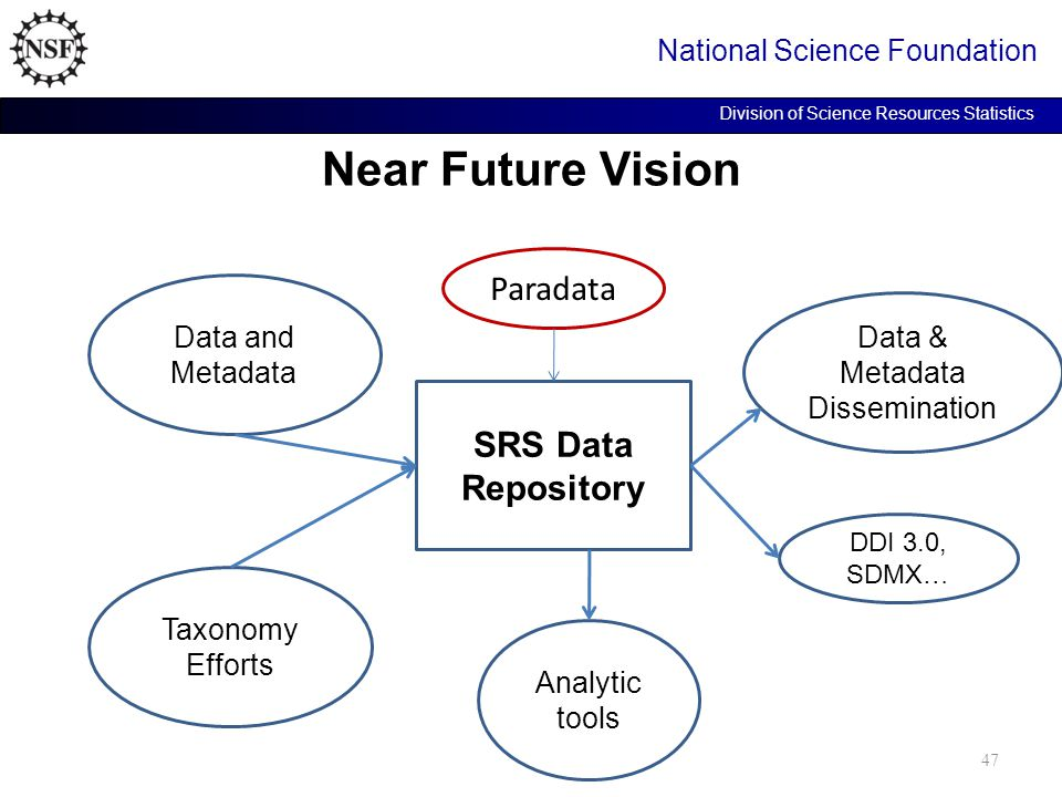 Near Future Vision National Science Foundation Division of Science Resources Statistics SRS Data Repository Data and Metadata Taxonomy Efforts Data & Metadata Dissemination Analytic tools DDI 3.0, SDMX … 47 Paradata