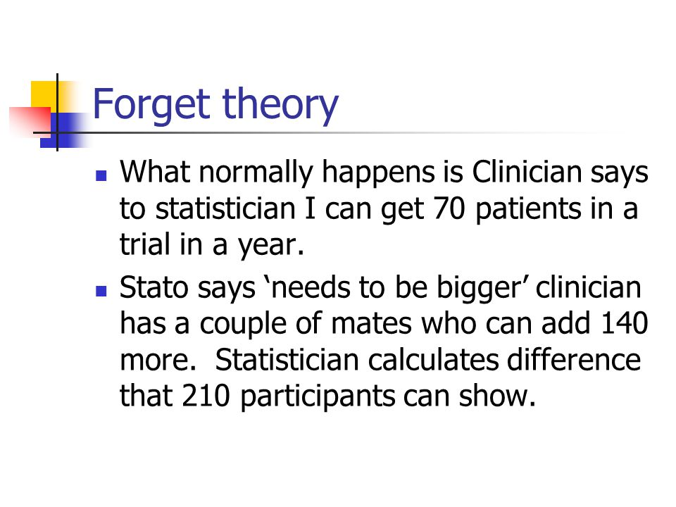 Forget theory What normally happens is Clinician says to statistician I can get 70 patients in a trial in a year. Stato says 'needs to be bigger' clin