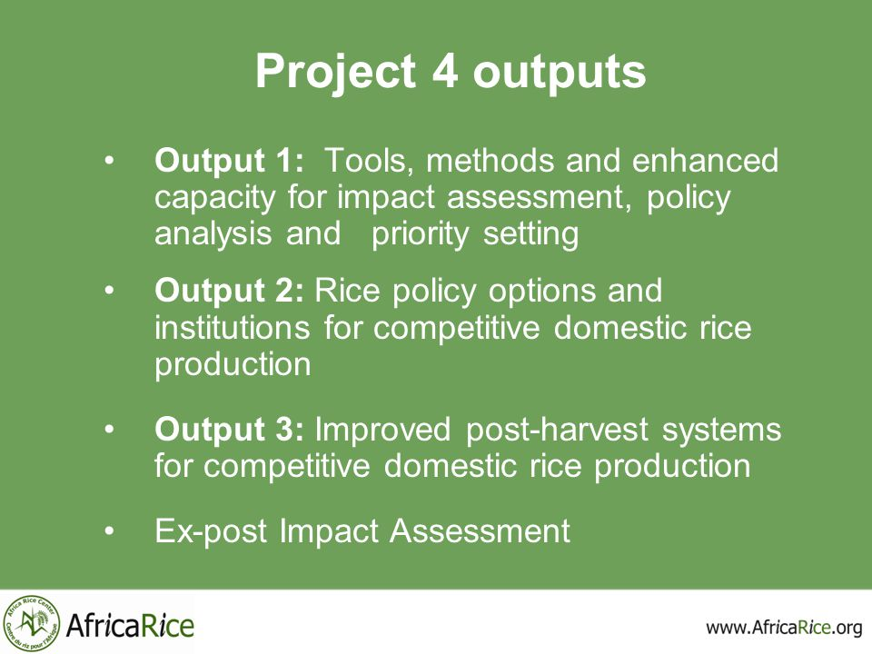Project 4 outputs Output 1: Tools, methods and enhanced capacity for impact assessment, policy analysis and priority setting Output 2: Rice policy opt