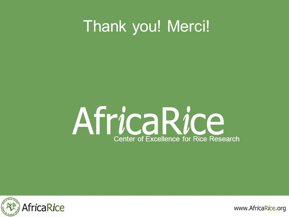 Thank you! Merci! Center of Excellence for Rice Research