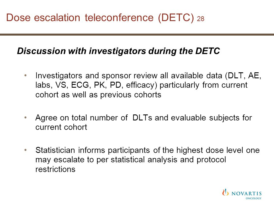 Dose escalation teleconference (DETC) 28 Discussion with investigators during the DETC Investigators and sponsor review all available data (DLT, AE, labs, VS, ECG, PK, PD, efficacy) particularly from current cohort as well as previous cohorts Agree on total number of DLTs and evaluable subjects for current cohort Statistician informs participants of the highest dose level one may escalate to per statistical analysis and protocol restrictions