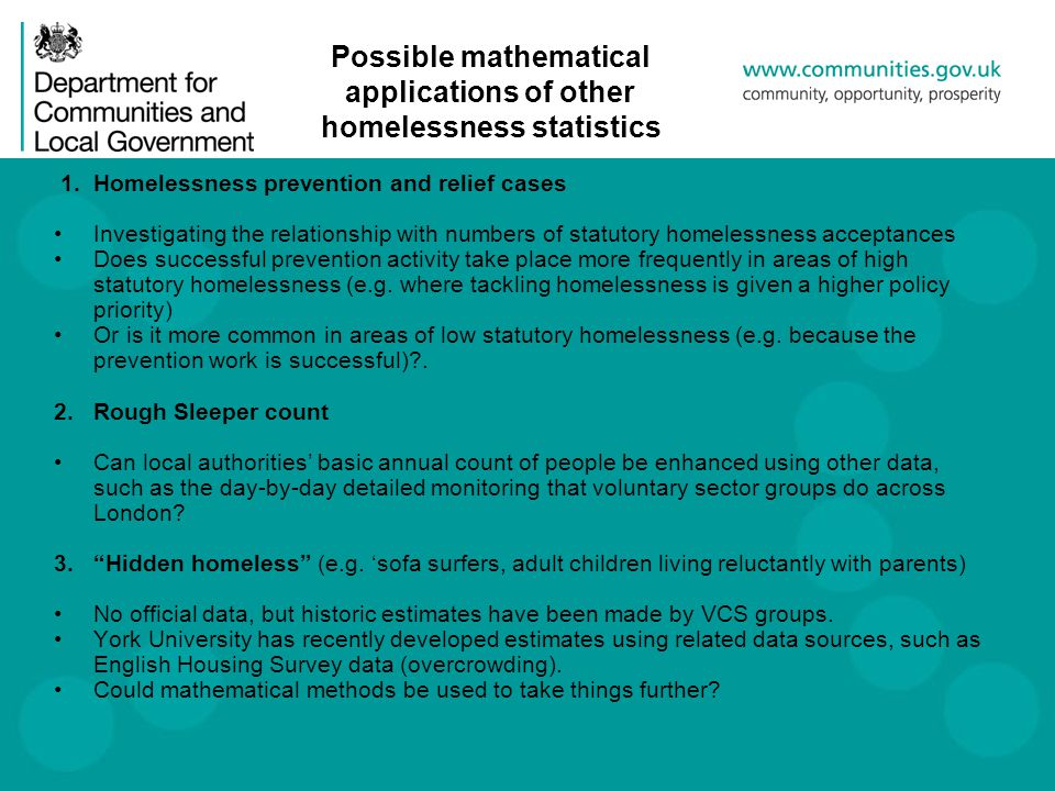 Possible mathematical applications of other homelessness statistics 1.