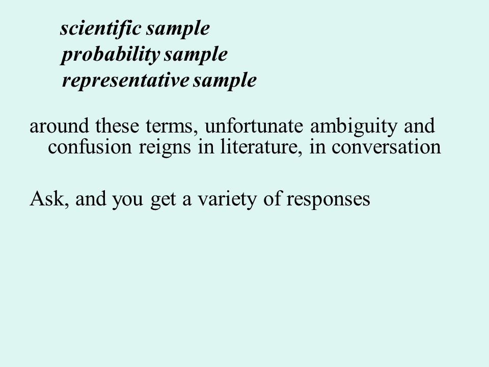 scientific sample probability sample representative sample around these terms, unfortunate ambiguity and confusion reigns in literature, in conversation Ask, and you get a variety of responses