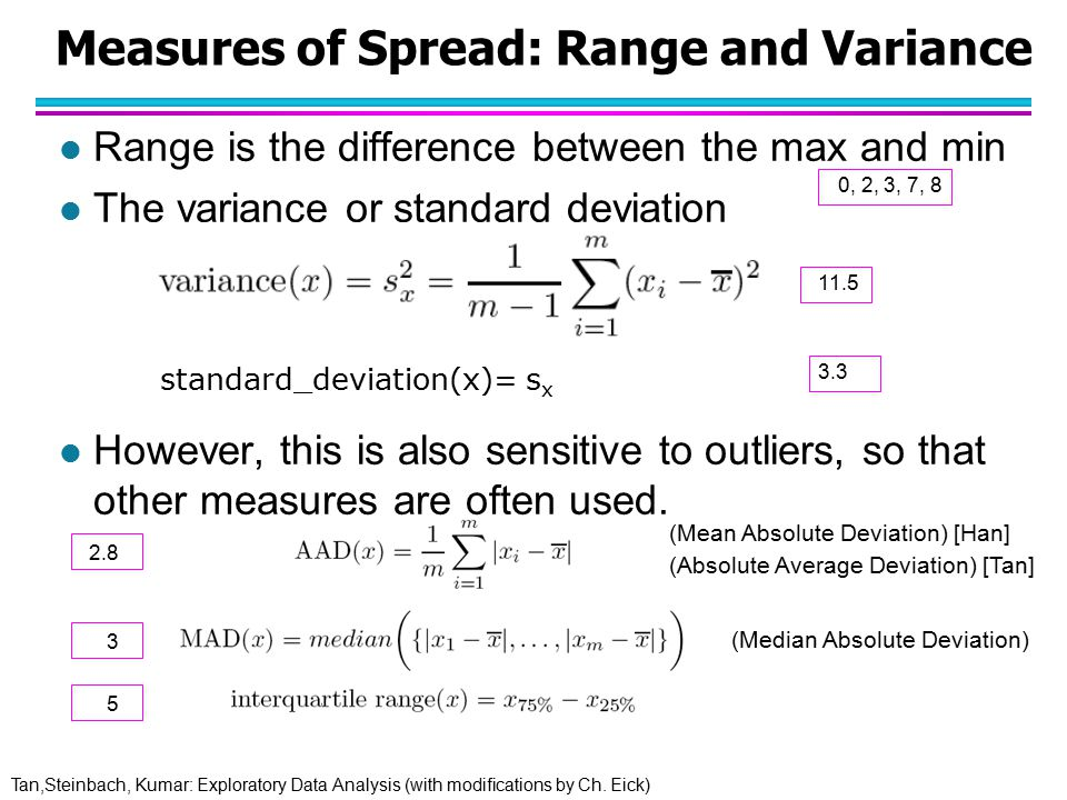 Tan,Steinbach, Kumar: Exploratory Data Analysis (with modifications by Ch. Eick) Measures of Spread: Range and Variance l Range is the difference betw