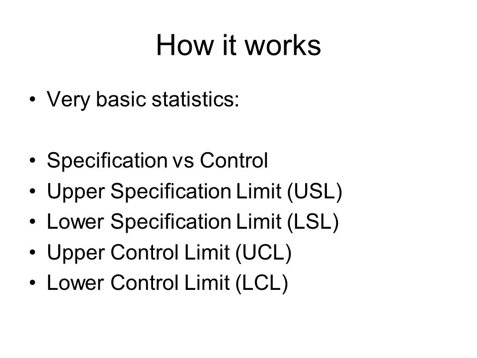 How it works Very basic statistics: Specification vs Control Upper Specification Limit (USL) Lower Specification Limit (LSL) Upper Control Limit (UCL)