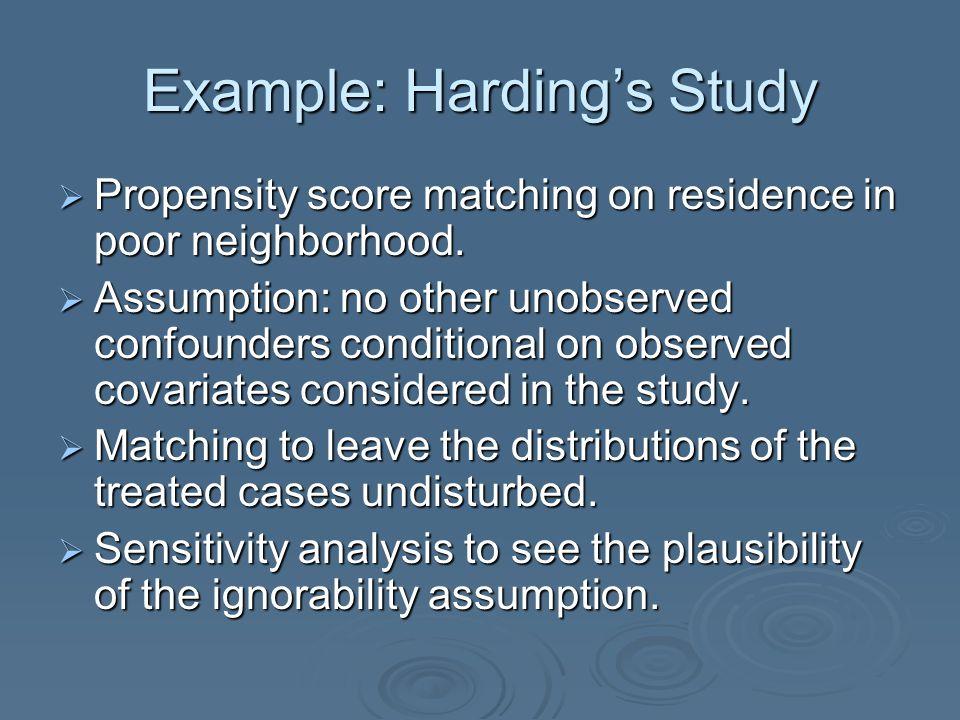Example: Harding's Study  Propensity score matching on residence in poor neighborhood.