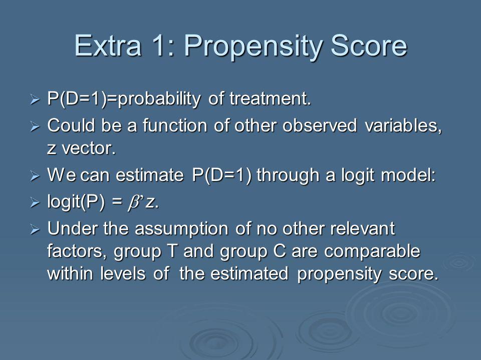 Extra 1: Propensity Score  P(D=1)=probability of treatment.