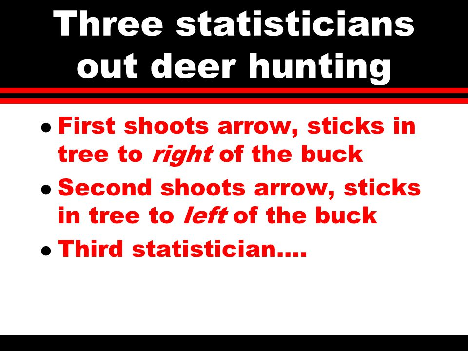 Three statisticians out deer hunting l First shoots arrow, sticks in tree to right of the buck l Second shoots arrow, sticks in tree to left of the buck l Third statistician….