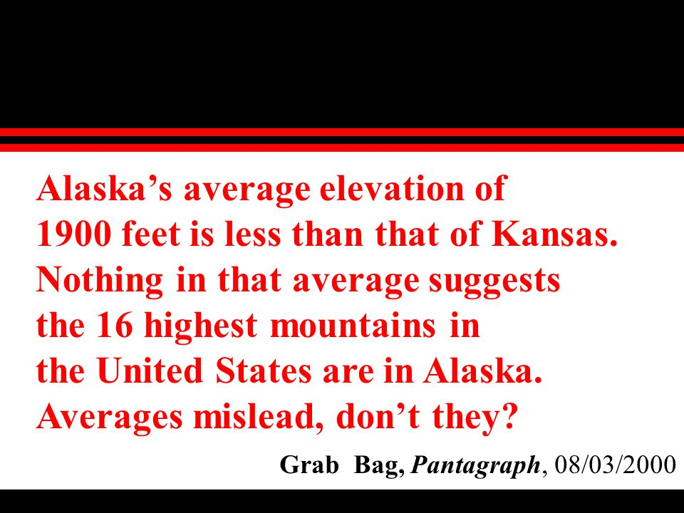Alaska's average elevation of 1900 feet is less than that of Kansas.