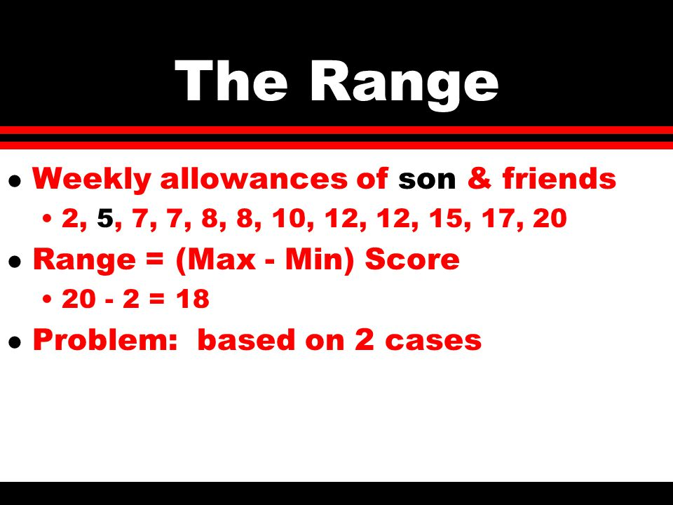 The Range l Weekly allowances of son & friends 2, 5, 7, 7, 8, 8, 10, 12, 12, 15, 17, 20 l Range = (Max - Min) Score 20 - 2 = 18 l Problem: based on 2 cases