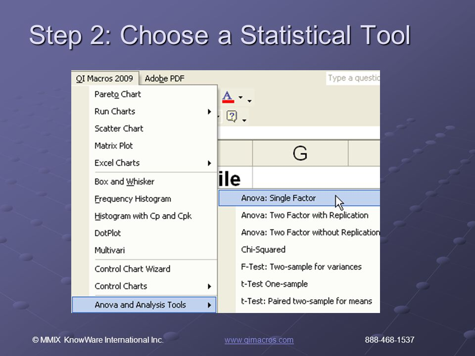 © MMIX KnowWare International Inc. www.qimacros.com 888-468-1537www.qimacros.com Step 2: Choose a Statistical Tool