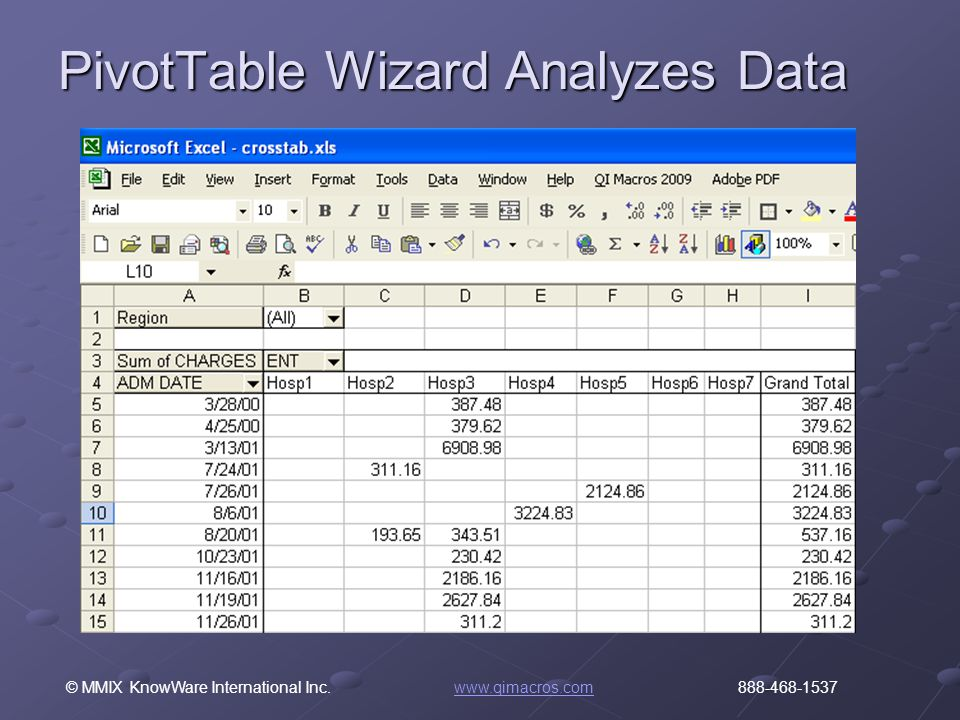 © MMIX KnowWare International Inc. www.qimacros.com 888-468-1537www.qimacros.com PivotTable Wizard Analyzes Data