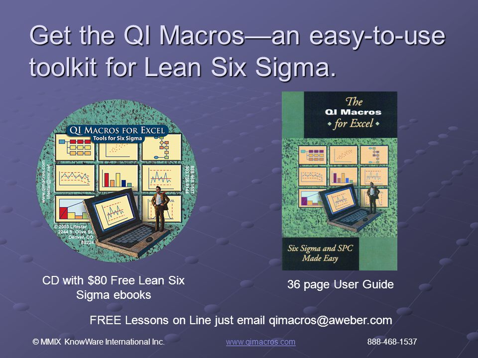 © MMIX KnowWare International Inc. www.qimacros.com 888-468-1537www.qimacros.com Get the QI Macros—an easy-to-use toolkit for Lean Six Sigma. 36 page