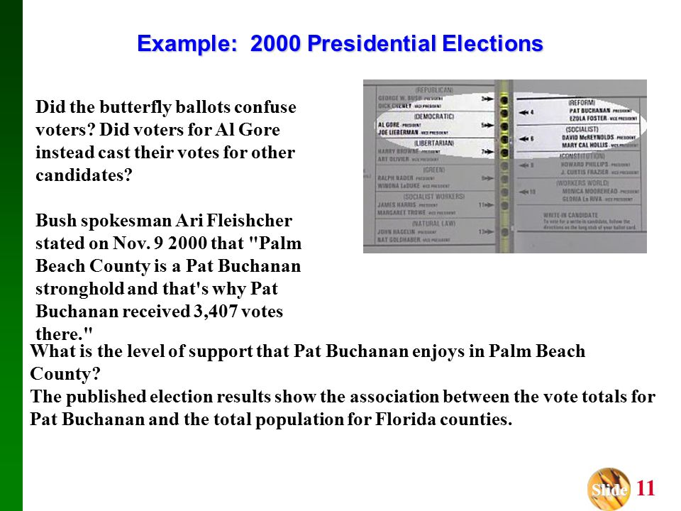 Slide Slide 11 Example: 2000 Presidential Elections Did the butterfly ballots confuse voters.