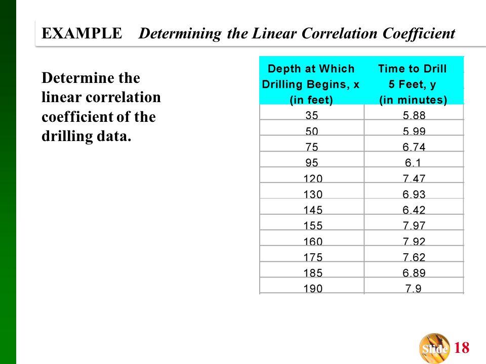 Slide Slide 18 EXAMPLE Determining the Linear Correlation Coefficient Determine the linear correlation coefficient of the drilling data.