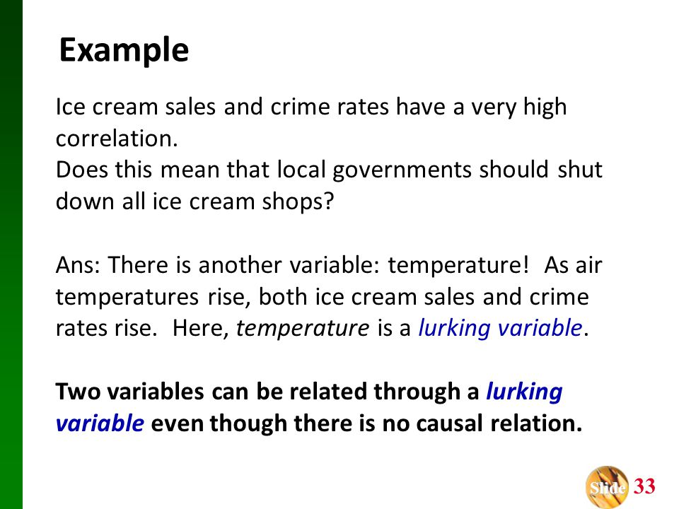 Slide Slide 33 Ice cream sales and crime rates have a very high correlation.
