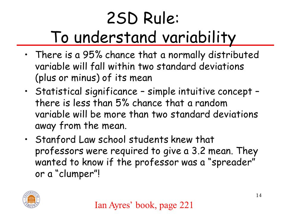 2SD Rule: To understand variability There is a 95% chance that a normally distributed variable will fall within two standard deviations (plus or minus) of its mean Statistical significance – simple intuitive concept – there is less than 5% chance that a random variable will be more than two standard deviations away from the mean.