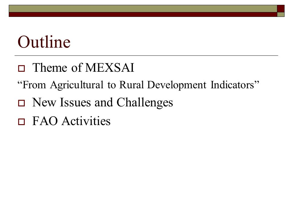 Outline  Theme of MEXSAI From Agricultural to Rural Development Indicators  New Issues and Challenges  FAO Activities