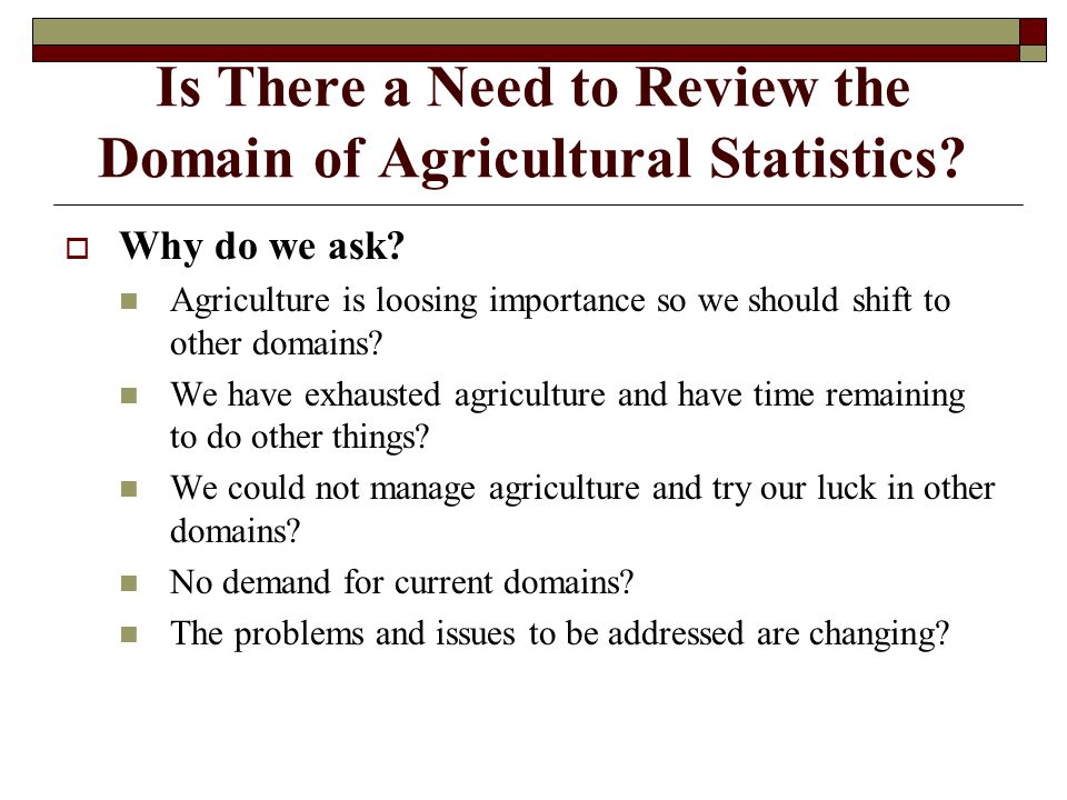Is There a Need to Review the Domain of Agricultural Statistics.