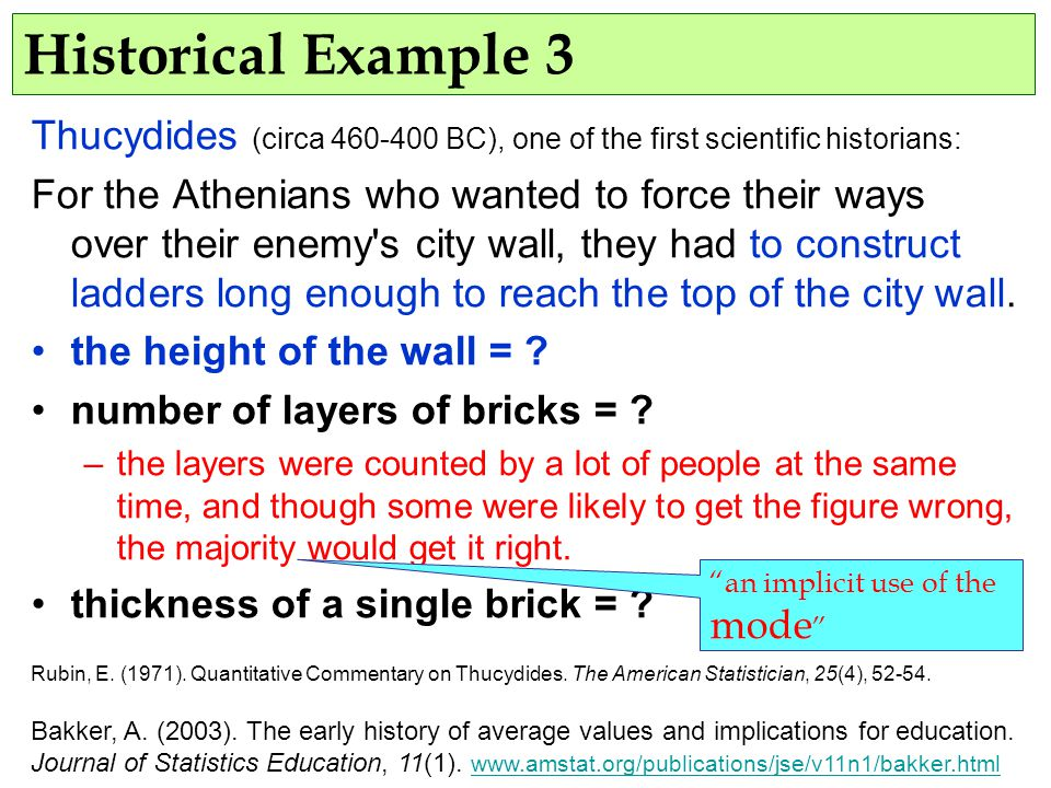 Historical Example 3 Thucydides (circa 460-400 BC), one of the first scientific historians: For the Athenians who wanted to force their ways over their enemy s city wall, they had to construct ladders long enough to reach the top of the city wall.