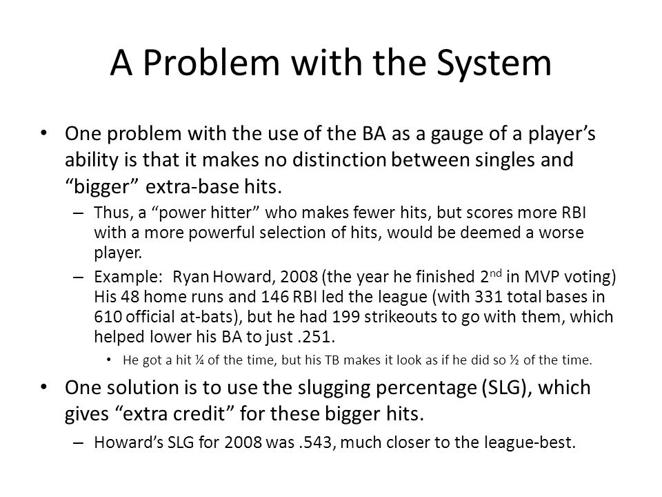 "A Problem with the System One problem with the use of the BA as a gauge of a player's ability is that it makes no distinction between singles and ""big"