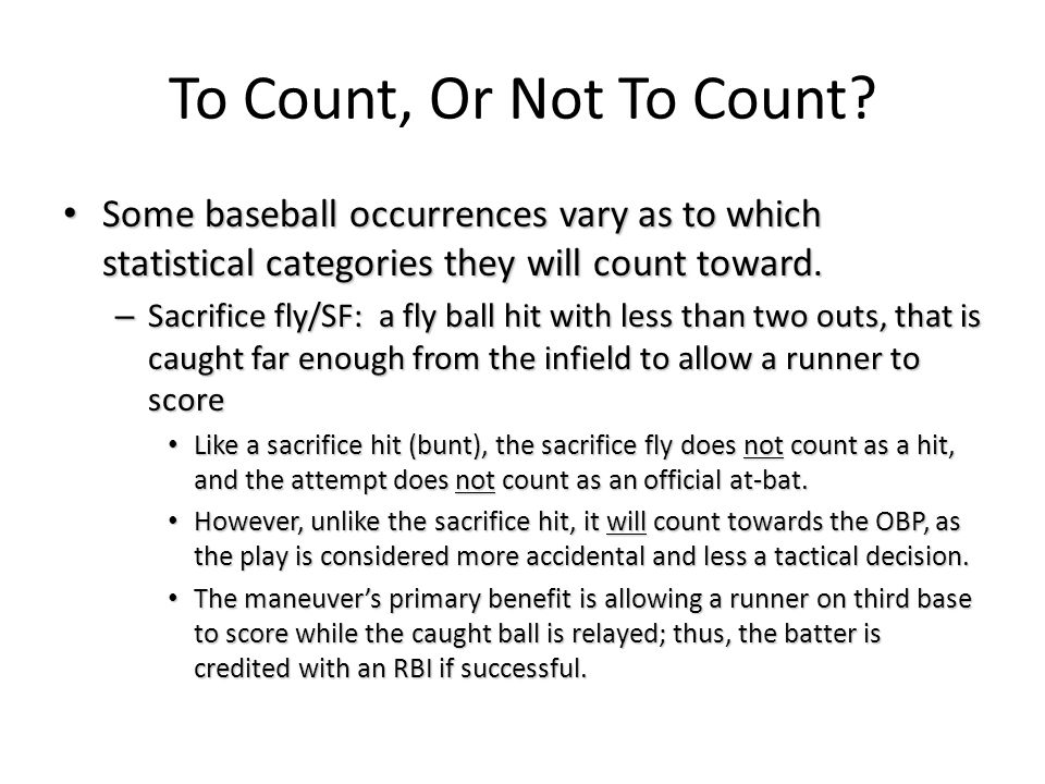 To Count, Or Not To Count.