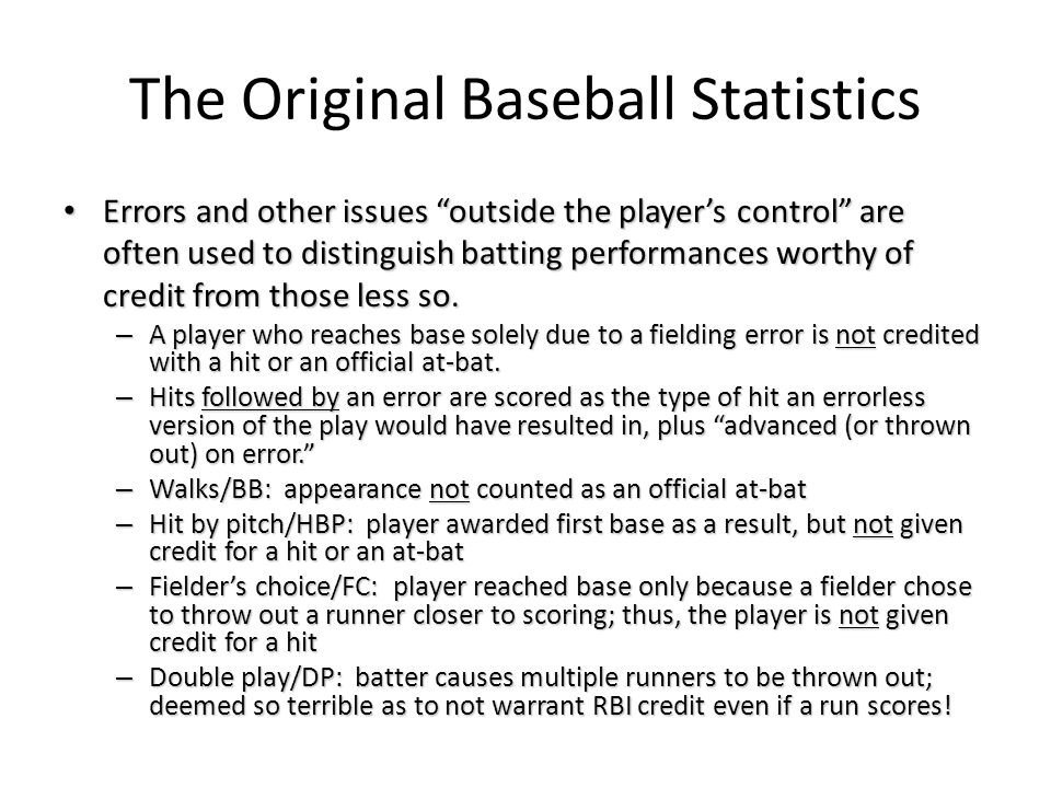 "The Original Baseball Statistics Errors and other issues ""outside the player's control"" are often used to distinguish batting performances worthy of c"