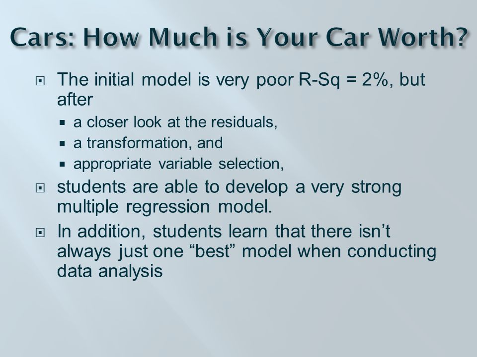  The initial model is very poor R-Sq = 2%, but after  a closer look at the residuals,  a transformation, and  appropriate variable selection,  students are able to develop a very strong multiple regression model.