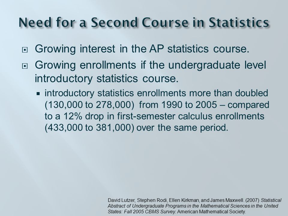  Class met 3 times a week for 14 weeks  In computer lab (about one time a week)  All students had at least one introductory statistics course  Freshmen through seniors  Mathematics, Econ, General Science, Biology, Psychology, Philosophy, and Political Science majors