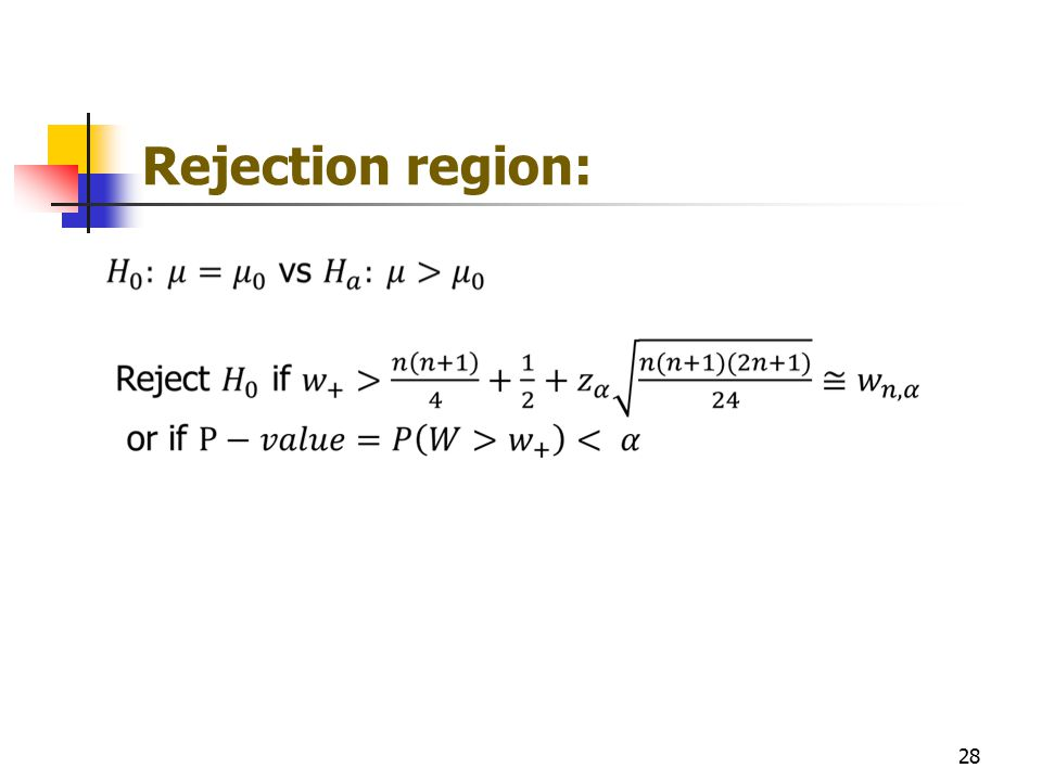 Rejection region: 28