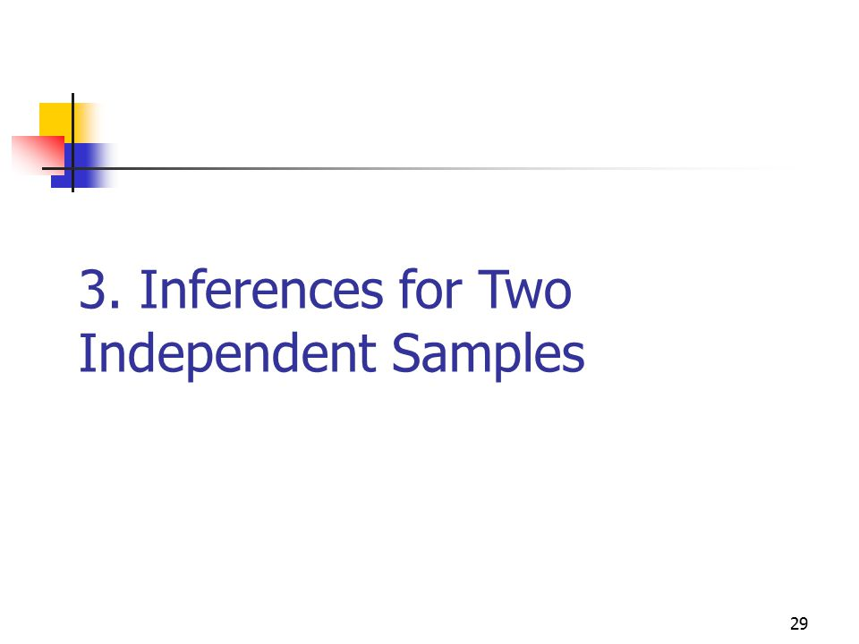 3. Inferences for Two Independent Samples 29